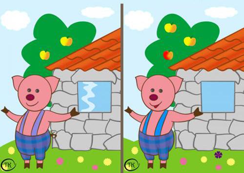 Tìm 7 điểm khác nhau giữa hai bức ảnh.