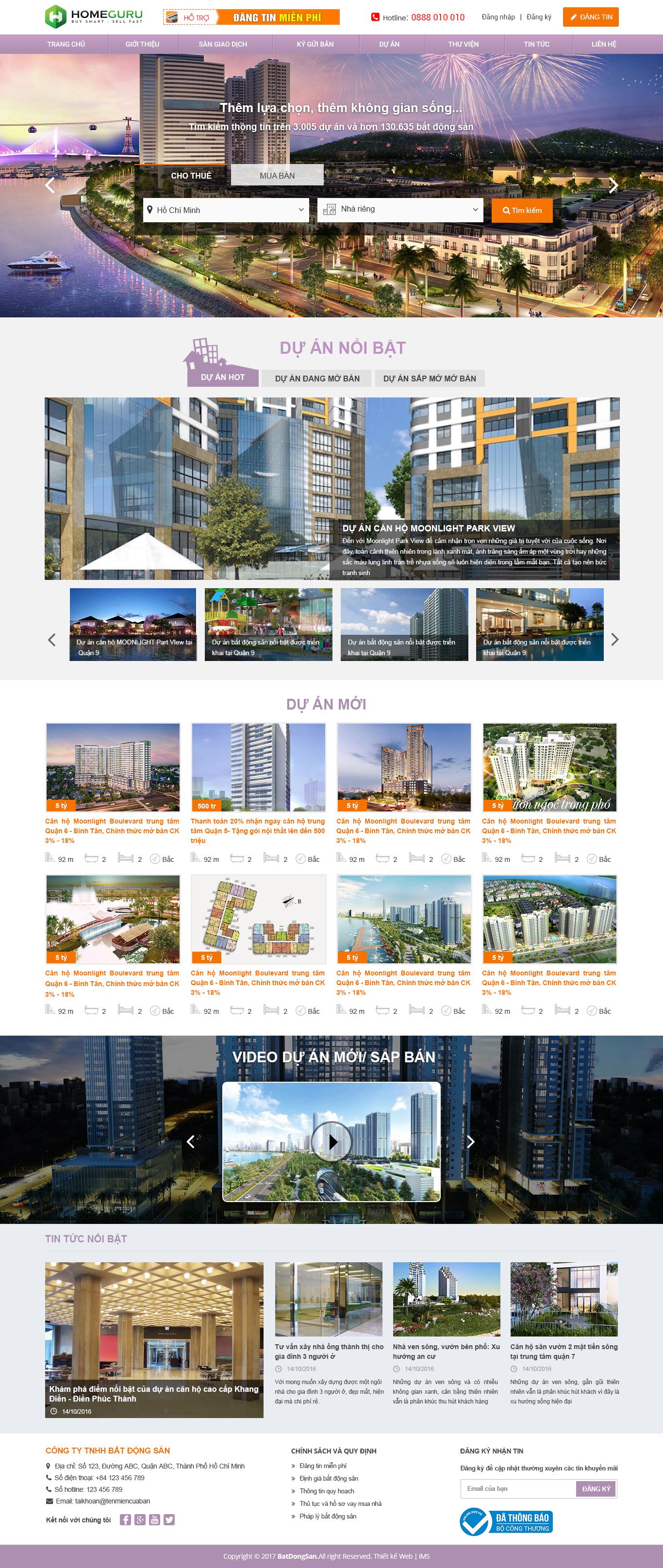 thiết kế website bất động sản - Nhà đất